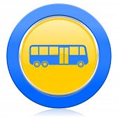 bus blue yellow icon public transport sign