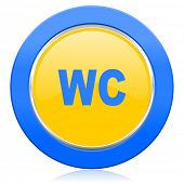toilet blue yellow icon wc sign