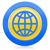 earth blue yellow icon
