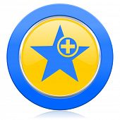 star blue yellow icon add favourite sign