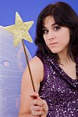 stock photo of tinkerbell  - young beautiful woman dressed as tinkerbell studio picture - JPG