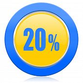 20 percent blue yellow icon sale sign