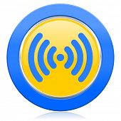 wifi blue yellow icon wireless network sign