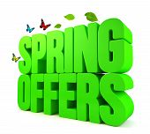 Spring Offers Green 3D Word Isolated