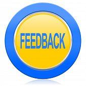 feedback blue yellow icon