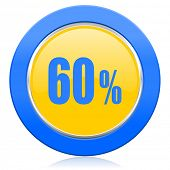 60 percent blue yellow icon sale sign
