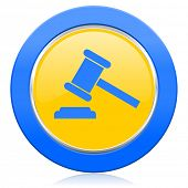 auction blue yellow icon court sign verdict symbol