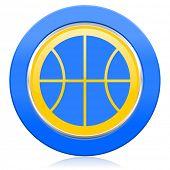ball blue yellow icon basketball sign