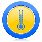 thermometer blue yellow icon temperature sign