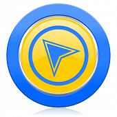 navigation blue yellow icon