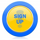 sign up blue yellow icon