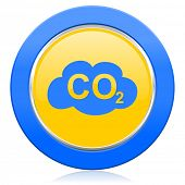 carbon dioxide blue yellow icon co2 sign