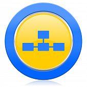 database blue yellow icon