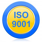 iso 9001 blue yellow icon