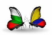 Two Butterflies With Flags On Wings As Symbol Of Relations Bulgaria And Columbia