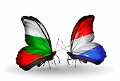 Two Butterflies With Flags On Wings As Symbol Of Relations Bulgaria And Luxembourg