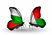 Two Butterflies With Flags On Wings As Symbol Of Relations Bulgaria And Madagascar