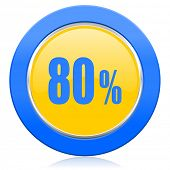80 percent blue yellow icon sale sign