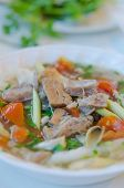 stock photo of noodles  - close up beef soup noodles Vietnamese noodles  - JPG