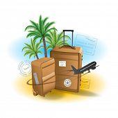 Suitcase luggage travel design concept