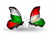 Two Butterflies With Flags On Wings As Symbol Of Relations Bulgaria And Tajikistan