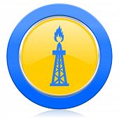 gas blue yellow icon oil sign