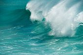 Turquoise Ocean Wave Breaking