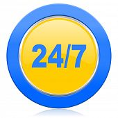 24/7 blue yellow icon