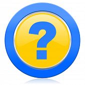 question mark blue yellow icon ask sign