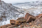 picture of collins  - snowstorm over Rocky Mountains foothills - JPG