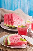 stock photo of watermelon slices  - Fresh ripe watermelon slices on a plate - JPG