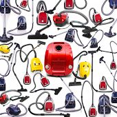 Background made of many vacuum cleaners on white