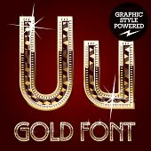 Vector set of gold rich alphabet with diamonds. Letter U
