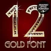 Vector set of gold rich alphabet with diamonds. Numbers 1 2