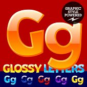 Vector set of glossy modern alphabet in different colors. Letter G. Also includes graphic styles