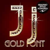 Vector set of gold rich alphabet with diamonds. Letter J