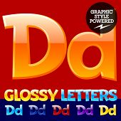 Vector set of glossy modern alphabet in different colors. Letter D. Also includes graphic styles