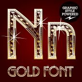 Vector set of gold rich alphabet with diamonds. Letter N