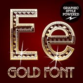 Vector set of gold rich alphabet with diamonds. Letter E