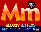 Vector set of glossy modern alphabet in different colors. Letter M. Also includes graphic styles