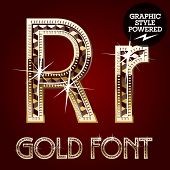 Vector set of gold rich alphabet with diamonds. Letter R