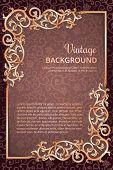 Vintage flourish golden frame on dark wine background