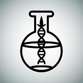 An image of a biotech research flask.