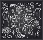 Chalkboard wedding banquet elements - flowers, sweets, ribbons and labels.
