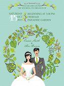 Cute wedding invitation.Groom,bride,green leaves wreath