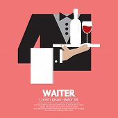 stock photo of serving tray  - Waiter With Beverage Serving Tray Vector Illustration - JPG