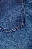Closeup Detail Of Blue Denim Pocket