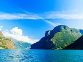 Tourism And Travel. Mountains And Fjord In Norway.