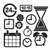 Set Of Time Web And Mobile Icons. Vector.