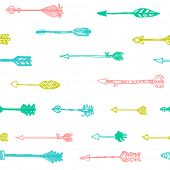 Seamless geometric pattern with hand drawn arrows in retro style. Ethnic pattern.